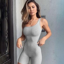 Spring Summer Sexy Sleeveless One Shoulder Skinny Short Jumpsuits Fitness Jogging Sport   Streetwear