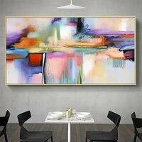 Peinture sur toile coloree abstraite  1 piece  decor de maison  Art mural modulaire  affiche moderne imprimee Hd pour cadeau