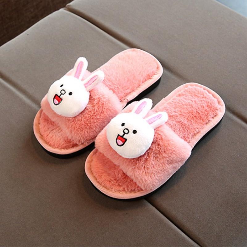 Zapatillas peludas de invierno para niños, zapatillas con plataforma con borlas, Zapatillas de casa para niños, zapatillas gruesas de interior antideslizantes para niños y niñas