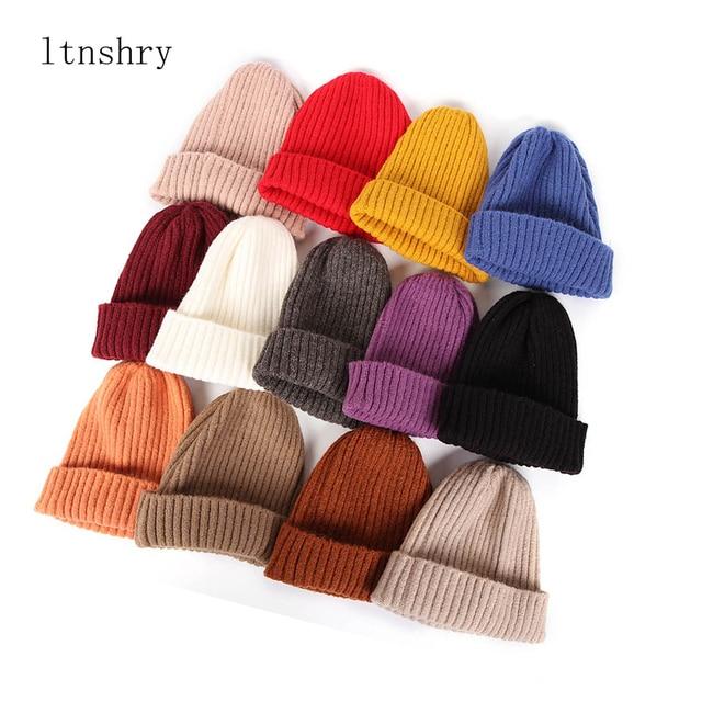 2020 New Womens Beanie Hat warm Autumn Women Wool Knit Beanie Hat Cuff Beanie Watch Cap for Girls Spring Skull Hats for Female