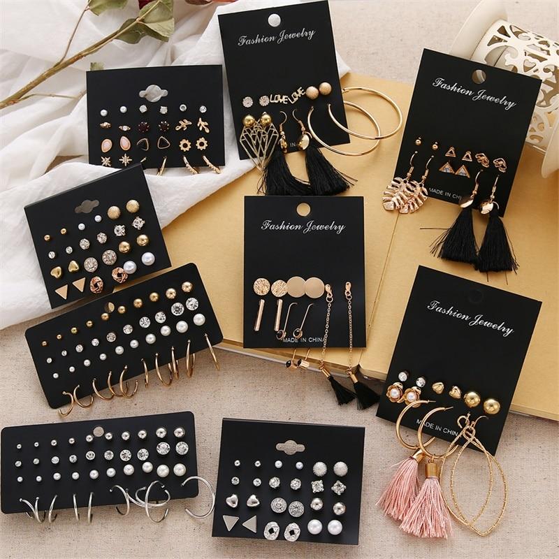 Cercei pentru femei set cercei cu perle pentru femei bijuterii de modă boem cercei cu inimă cu cristal geometric