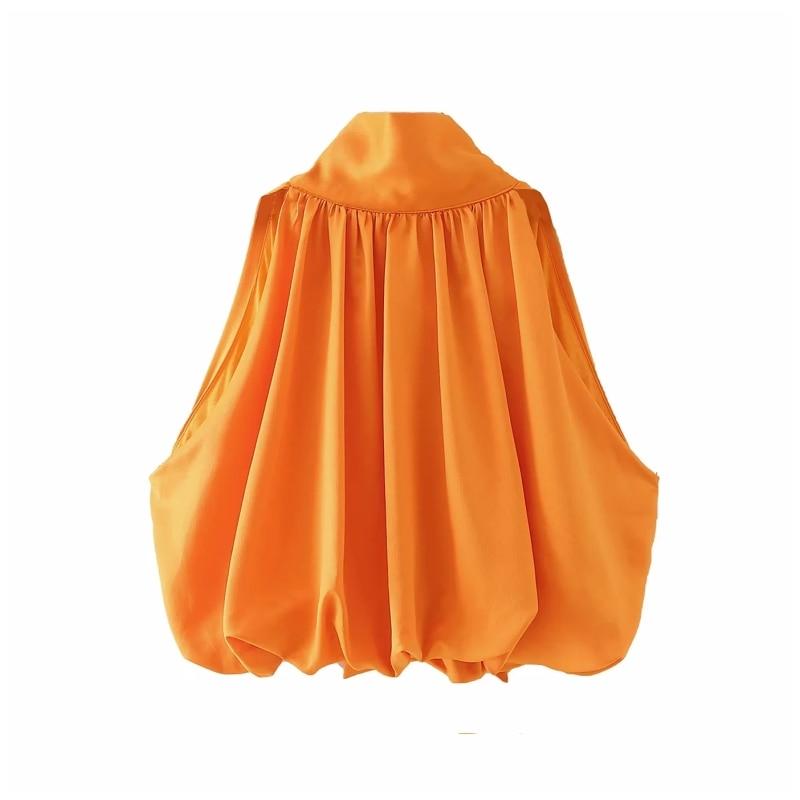 High collar Bow tie Loose Vest Blouse Women Summer 2020 Casual Elastic hem Lantern Shirts Femme Solid Tops S7395