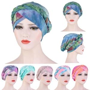 Cotton Muslim Turban Scarf for Women Islamic Inner Hijab Print Turban Cap Headwear Head Scarf Arab Wrap Hat Hair Accessories