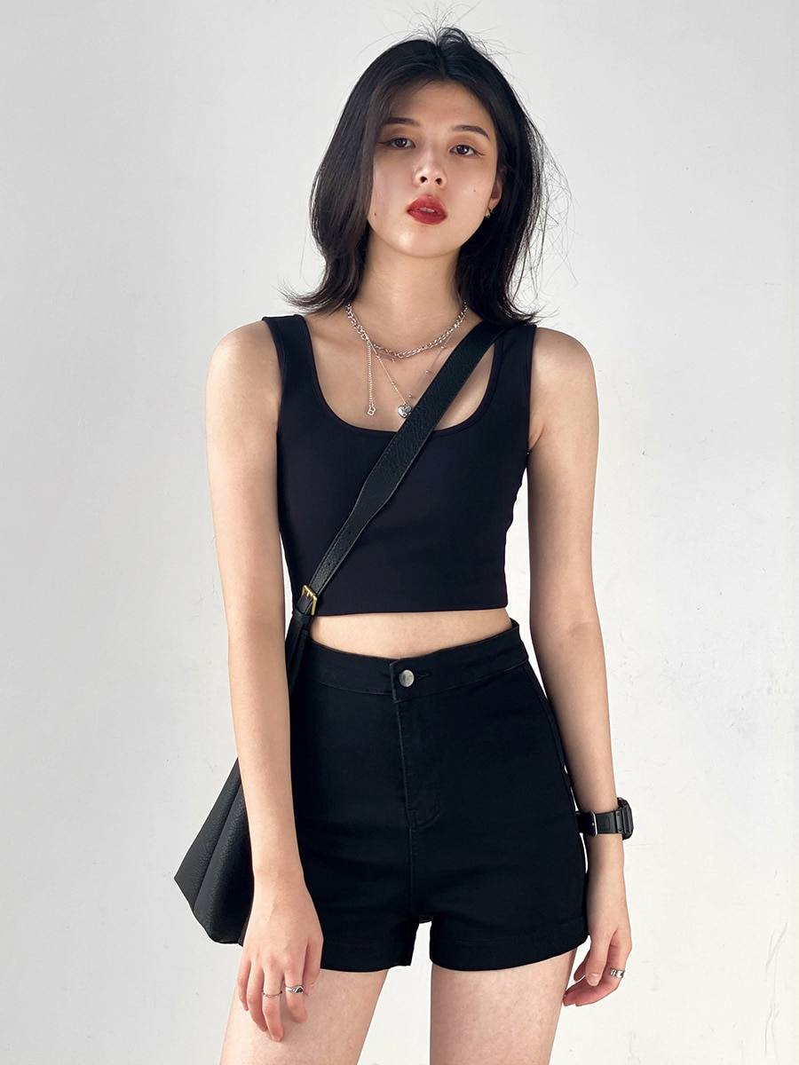 Chic Neck Sling Short Backless Elastic Vest Women's Outer Wearing Bottomed Top Autumn