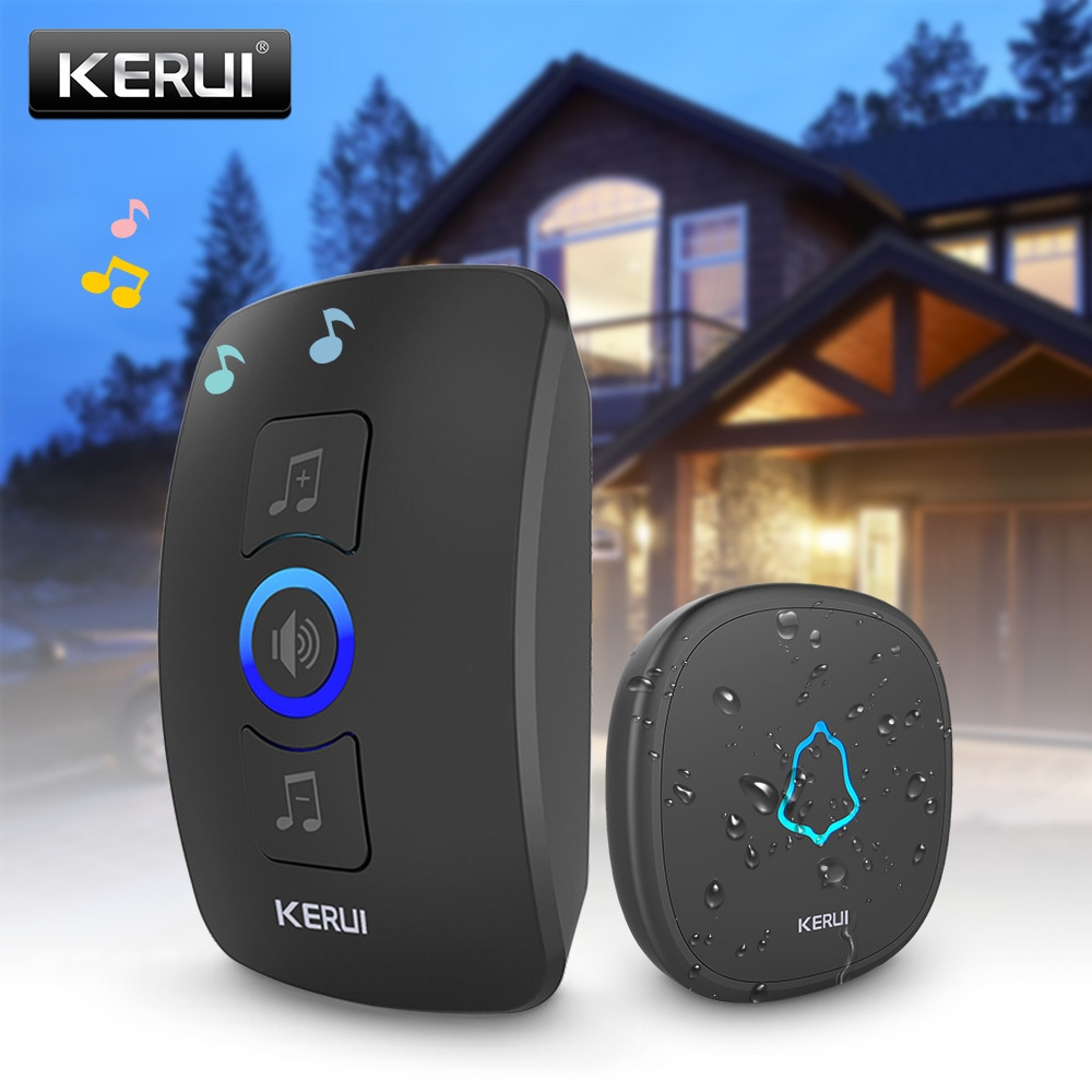 KERUI M525 Wireless Doorbell Kit Home Security Smart Doorbell Chimes 4 Levels Volume 32 Songs Friend Visiting Welcome System