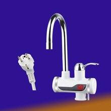 Mais novo tankless instantâneo torneira aquecedor de água instantâneo torneira da cozinha guindaste de água quente led digital plugue da ue