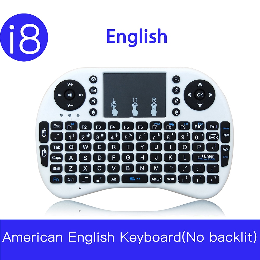 Mini teclado inalámbrico de 2,4 GHz con retroiluminación en 7 colores i8 versión en español y ruso inglés francés Touchpad i8 retroiluminado para Android TV BOX