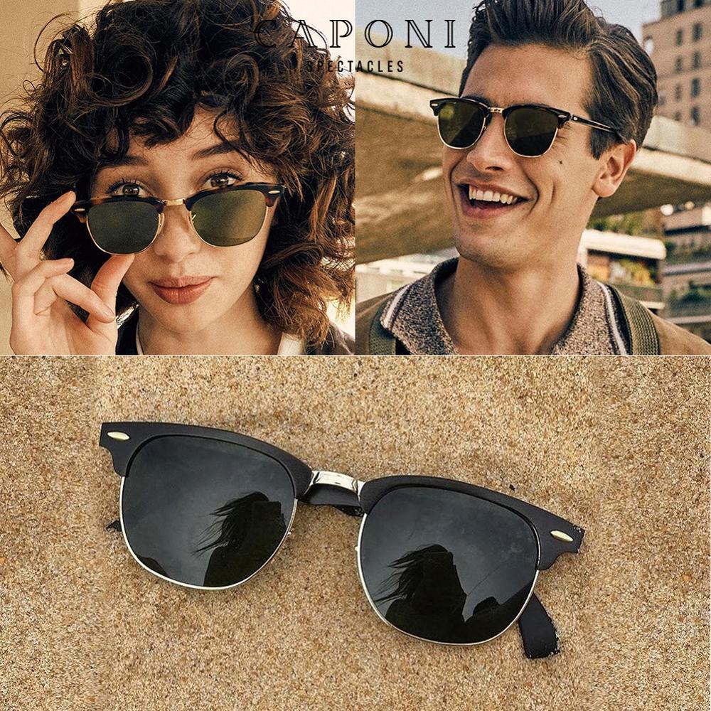 CAPONI Polarized Festival Sunglasses Men Handmade TR90 Metal Eyewear Male Luxury Brand Retro Sun Shades For Women UV400 CP3101