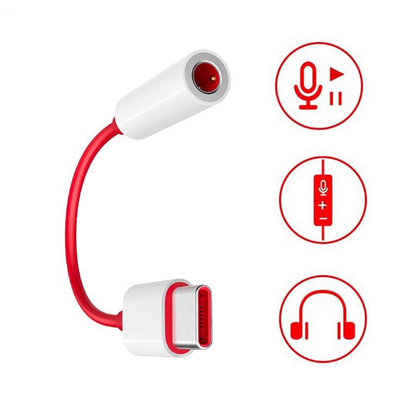 Adaptador de conector de auriculares OnePlus 7 Pro USB-C a 3,5 MM convertidor de Audio auxiliar para un Plus 7 1 + 6T Cable convertidor de música de auriculares tipo C