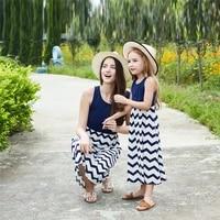 child sleeveless wave dress blue and white stripe printing design top long skirt childrens travel leisure summer dresses