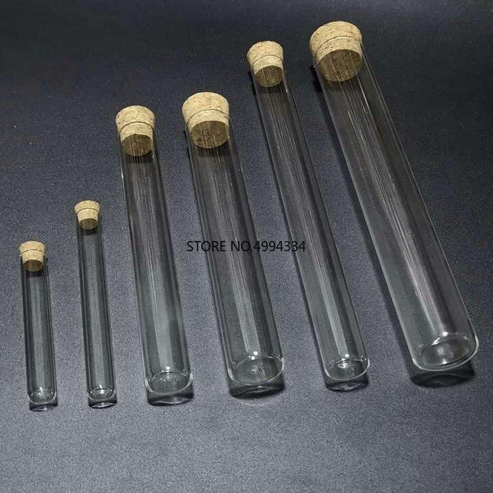 Envío gratis/50 piunids/lote 12*75mm tubos de ensayo de vidrio transparente con tapón de corcho para tipos de laboratorio/escuelas
