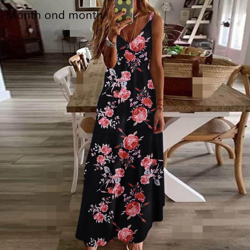 Gran tamaño S-5XL Falda larga floral retro verano una palabra de alta cintura linterna manga primavera largo elegante retro bohemio vestido femenino