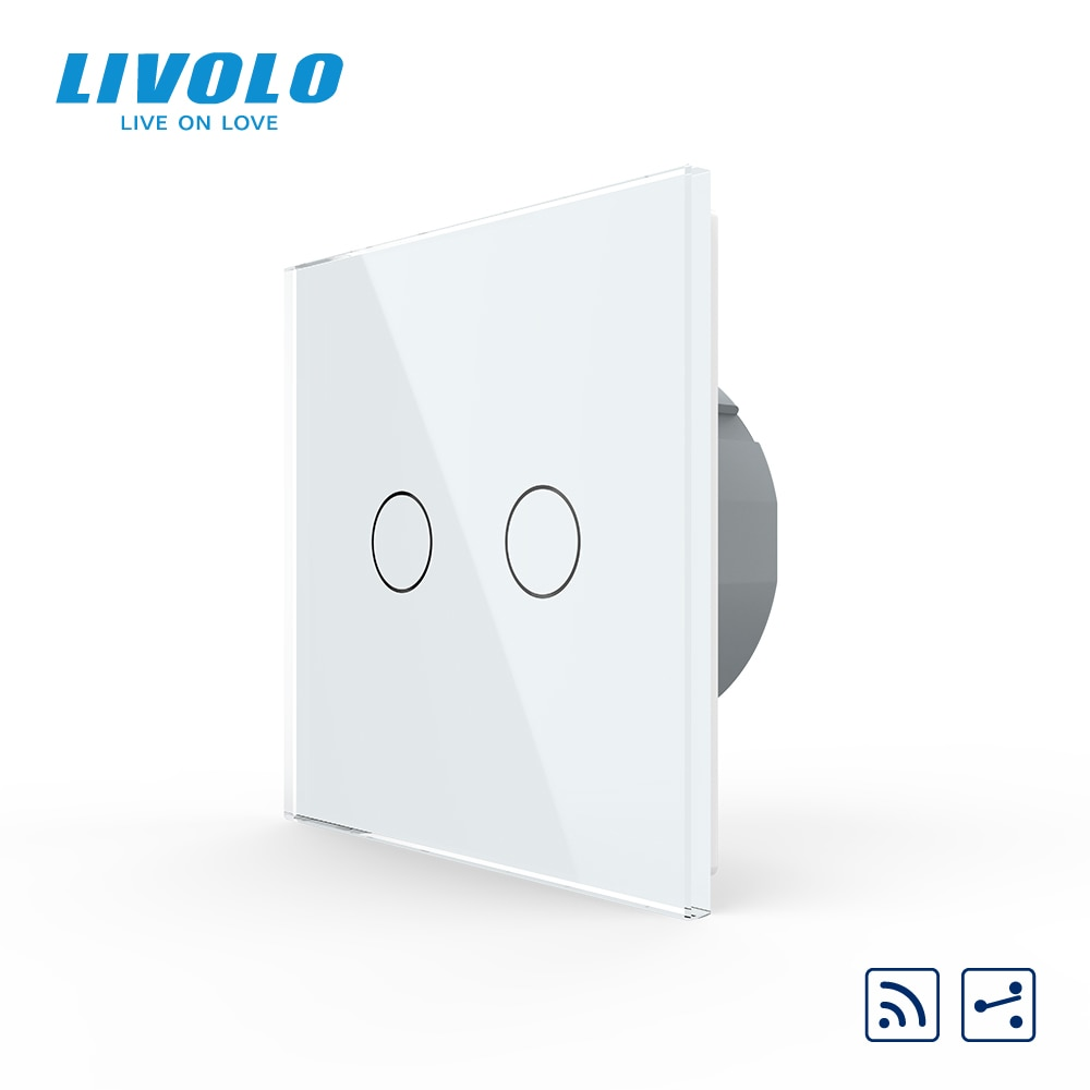 Livolo EU Standard Wall Light 433.92MHz Remote Wireless Touch Switch,1gang 2way ,Glass Panel,220~250V,remote control