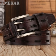 High Quality Genuine Leather Belts for Men Brand Strap Male Double Pin Buckle Fancy Vintage Jeans Co