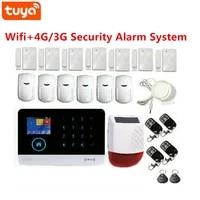 Tuya Smart GSM 4G WiFi alarme hote 433Mhz sans fil securite a la maison systeme dalarme antivol Kit avec sirene solaire exterieure 110dB