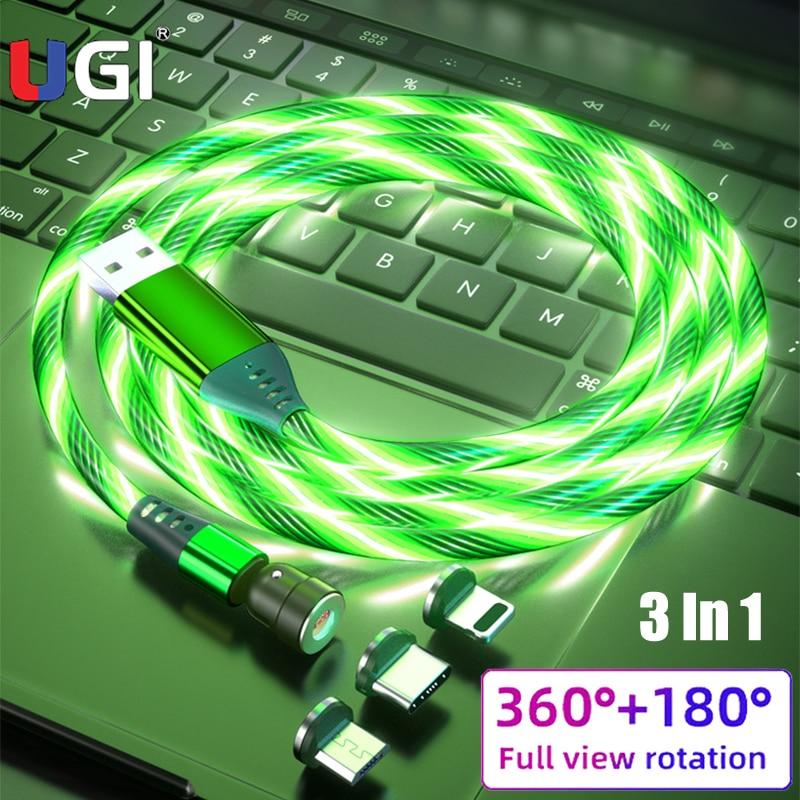 UGI-Cable magnético giratorio de 540 ° para móvil, luz LED luminosa, USB...