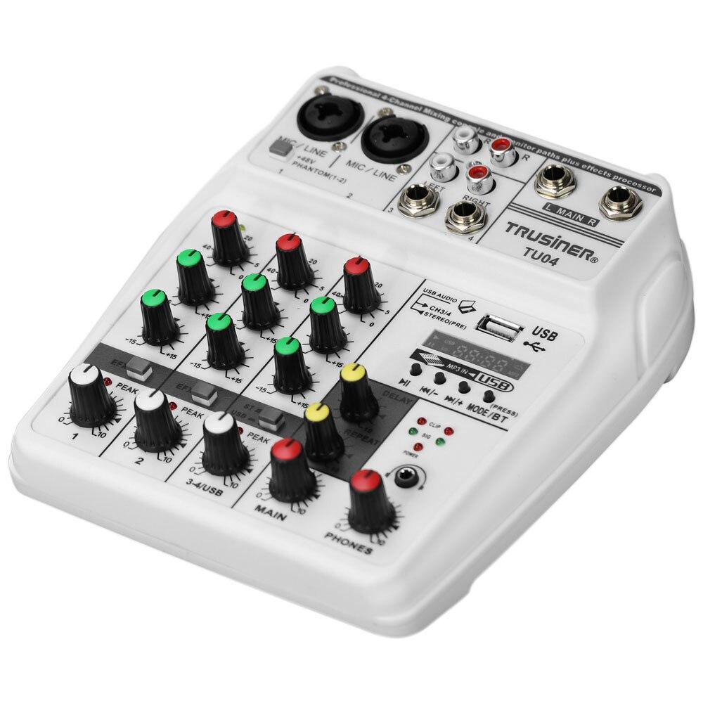 La mezcla de sonido de la consola USB Bluetooth computadora de registro de alimentación Phantom de 48V demora repetir Efecto 4 canales de Audio USB mezclador A4