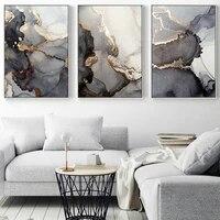 Toile de peinture aquarelle de luxe abstraite  decor de maison dore  affiches et imprimes minimalistes dart mural pour salon
