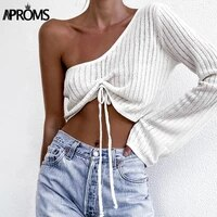 aproms sexy one shoulder ruched sweater women casual flare sleeve drawstring knitted pullovers streetwear gray soft basic top