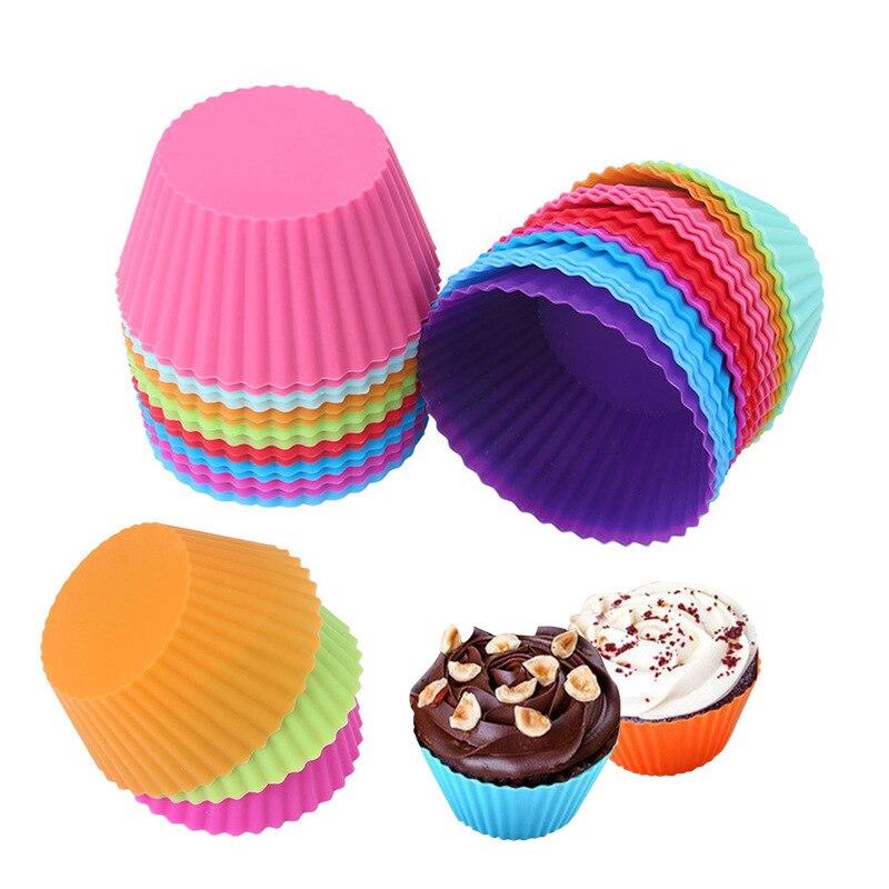 Cor da mistura 12pc silicone cozimento ferramenta de molde em forma redonda muffin copo cupcake cozinha bakeware fabricante diy bolo decoração 7cm