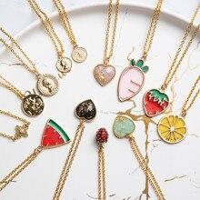 Sevimli çilek lemon muz meyve kolye kolye uzun kazak zinciri klavikula zincir kolye kadınlar için karikatür mücevher