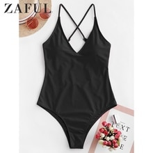 ZAFUL   تقاطعات الأساسية منخفضة الظهر قطعة واحدة ملابس السباحة السباغيتي الأشرطة مبطن ملابس السباحة السيدات مبطن شاطئ لباس سباحة الصيف