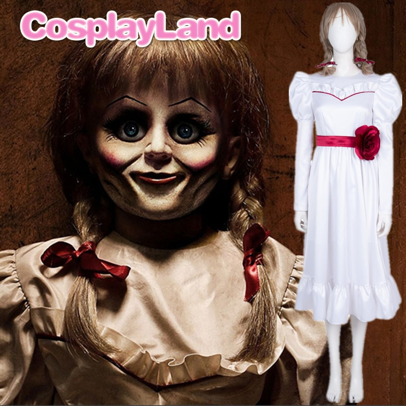 Movie Annabelle Cosplay Halloween Party bride White Dress Long Sleeve Long Dress for Girls Women Adult Costumes Fancy Dress Wig