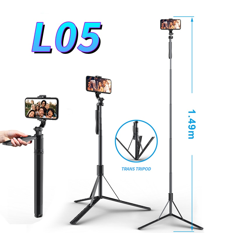 KAIQISJ L05 Selfie Stick Extended Bluetooth Stable Camera Stand Tripod Remote Control aluminum alloy