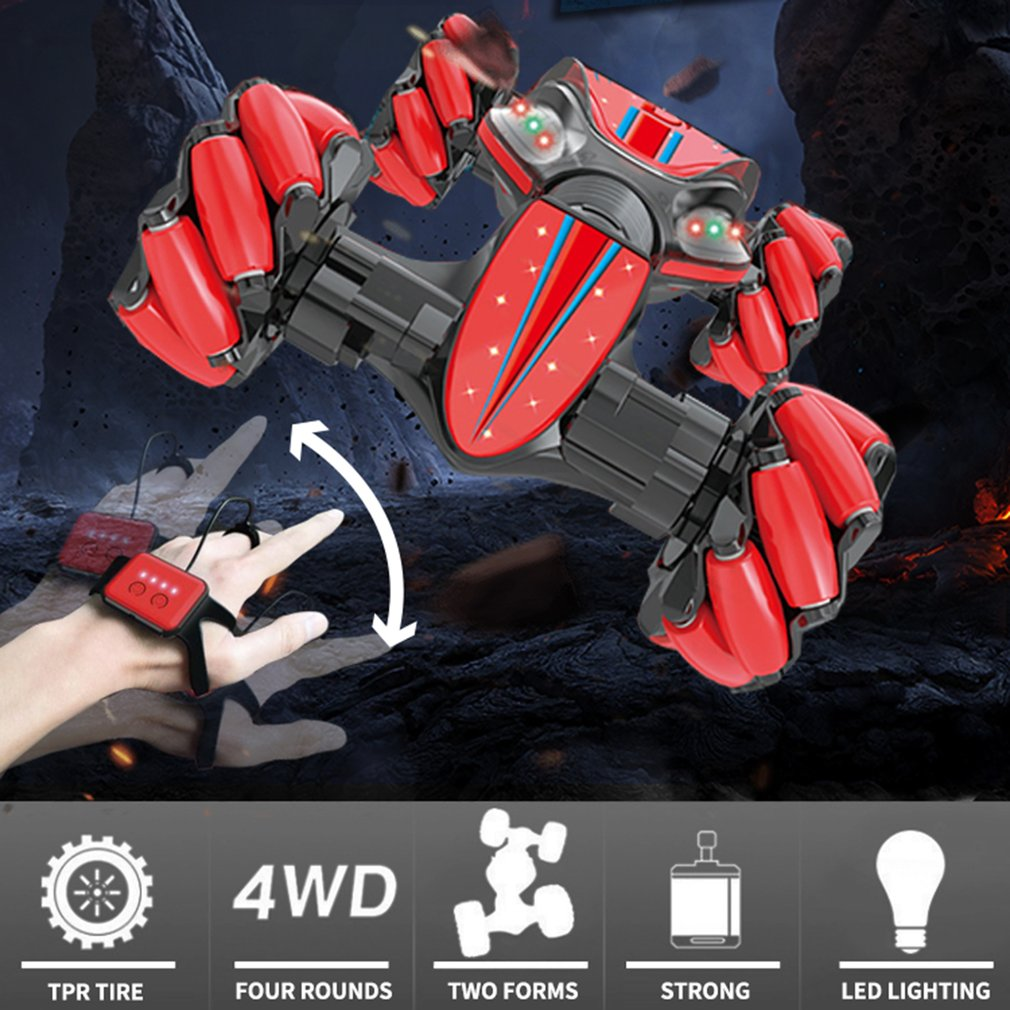 GW124 2.4Ghz RC Off-Road Stunt Car Amphibious Vehicle With Watch Remote Control Induction for Childrens Toys Gifts enlarge