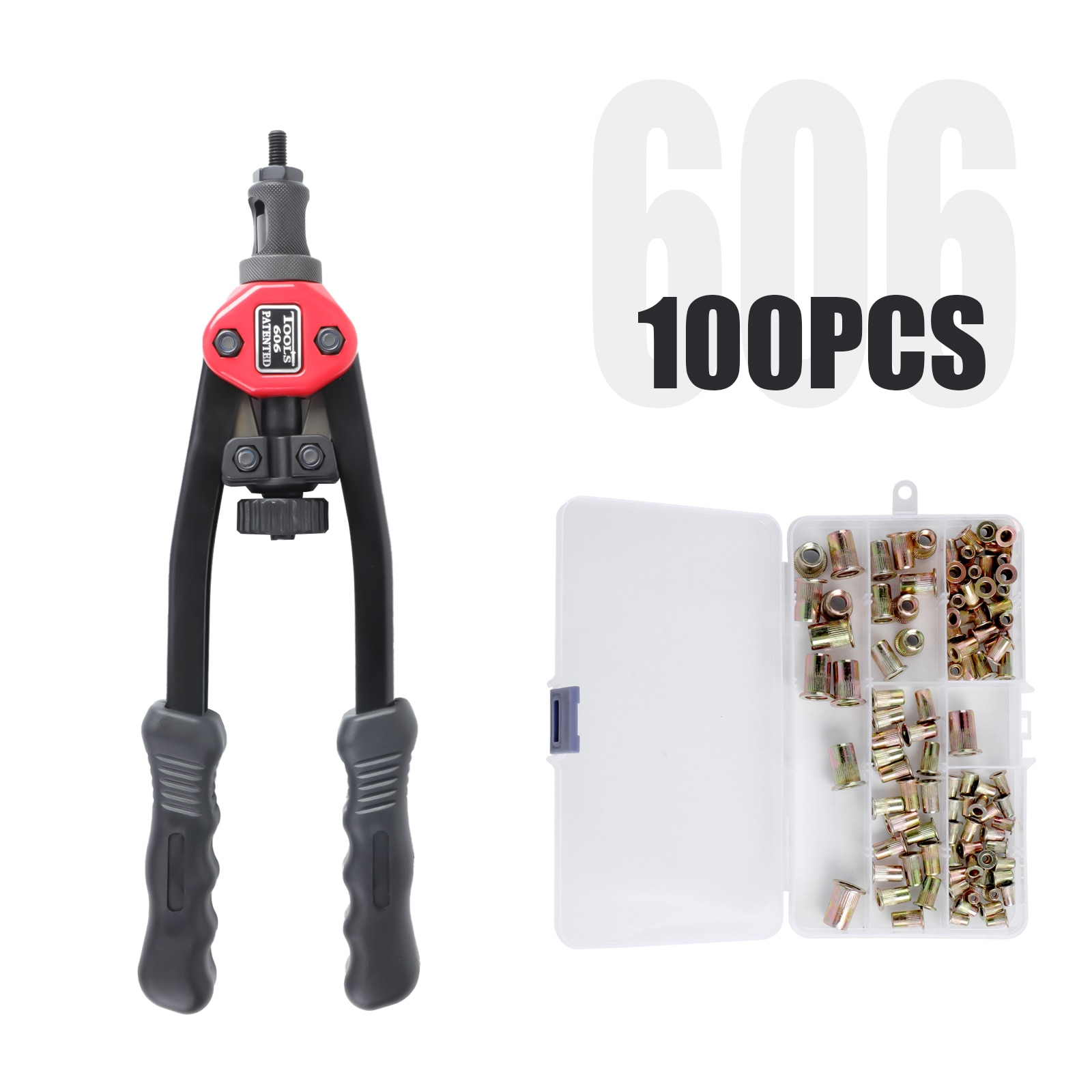 Bt606 rivet nut tool m3 M4 M5 M6 with 5 interchangeable spindles, manual rivet nut installation tool kit for 100 rivet nuts