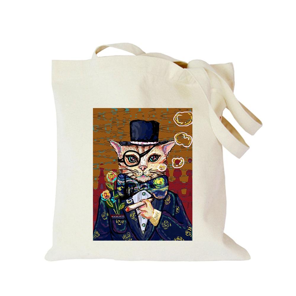 Original lona Tote Vintage divertido gato imprimir bolso de compras ECO bolsa de hombro personalizado bolsa de compra con logotipo bolsa de mano orba na zakupy
