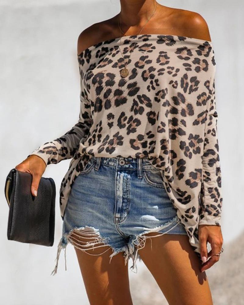 Women Fashion Elegant Off Shoulder Leopard Long Sleeve Spring Blouse Shirt Female Print