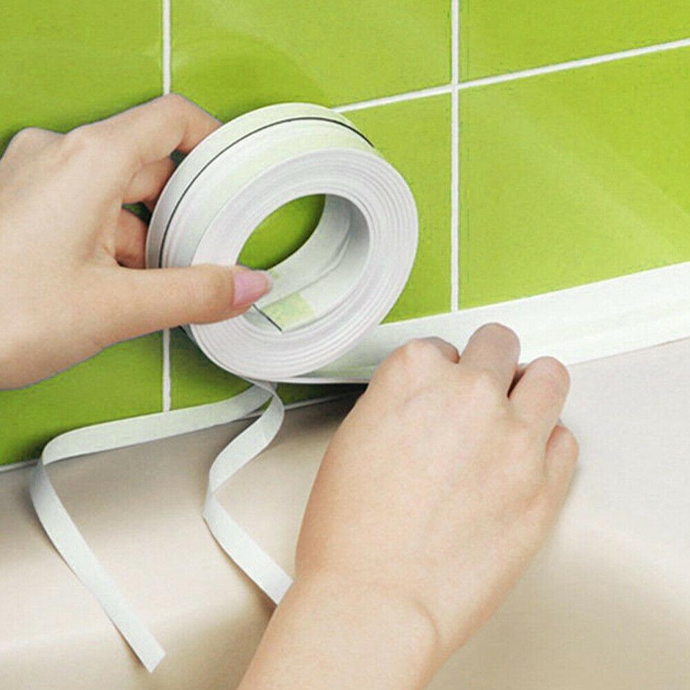 Tira de sellado de pared de baño de 22MM/38MM, cinta de reparación de calafateo de cocina autoadhesiva para Baño