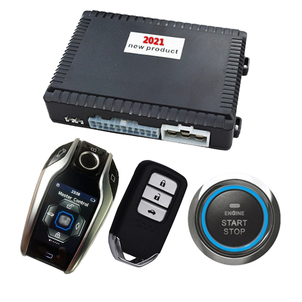 Cardot LCD Start Stop Push Button Start Stop Engine PKE Lock Unlock Ignition System Car Alarm