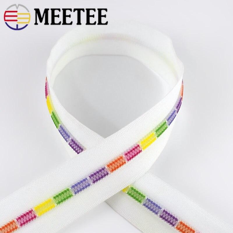 Купить с кэшбэком Meetee 2/5/10meters 5# White Colored Teeth Coil Nylon Zippers for Sewing Bags Garment Decor Zip DIY Repair Accessories ZA026