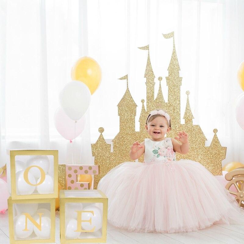 Patimate 1st decorações de aniversário uma caixa de cartão menino menina chuveiro do bebê batismo festa aniversário balão babyshower suprimentos