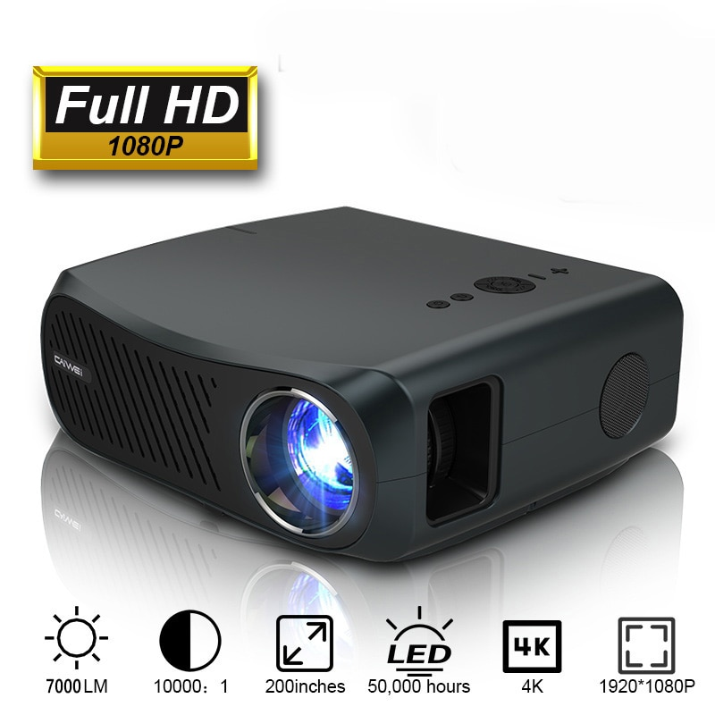 CAIWEI Full HD Projector A12 1920x1080P Android 6.0 (2G+16G) WIFI LED Projector Home Cinema 3D Video