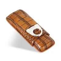 galiner cigar leather case with steel sharp guillotina cigar cutter portable travel humidor mini cigar storage boxl
