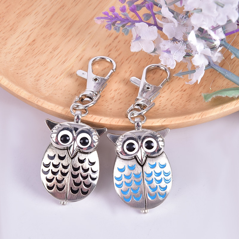Vintage Cute Owl Pocket Watch Chain Necklace Pendant Key Chain Flip Case Watch Hour Clock For Men Women Animals Pocket Watches