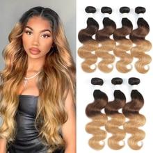 Brazilian Body Wave Human Hair Bundles Ombre Brown 3 Tone 1B/4/27 Colored Human Hair Weave Bundle Remy Hair Can Buy 1/3/4 PCS