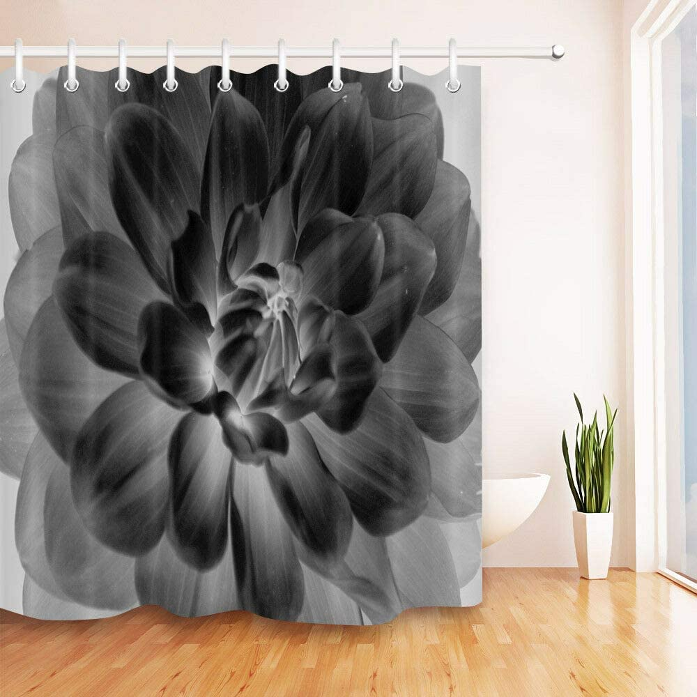 Cortina de Ducha de diseño de Flores de Color Blanco y Negro