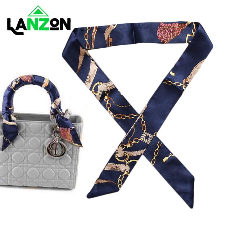 Pequeño pañuelo de seda para mujer, 2019, nuevo bolso estampado con asa, cintas, moda de marca, pañuelo para la cabeza, bufandas delgadas pequeñas largas, venta al por mayor