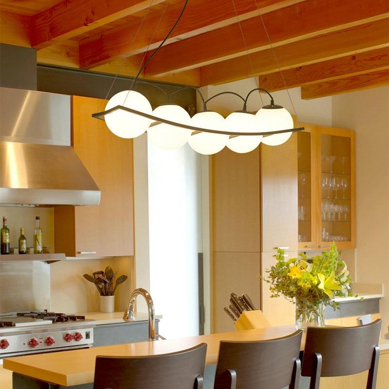 Lámpara Led de Bola negra E27 de diseño nórdico moderno para techo, lámpara lustre para Loft, cocina, sala, dormitorio, comedor