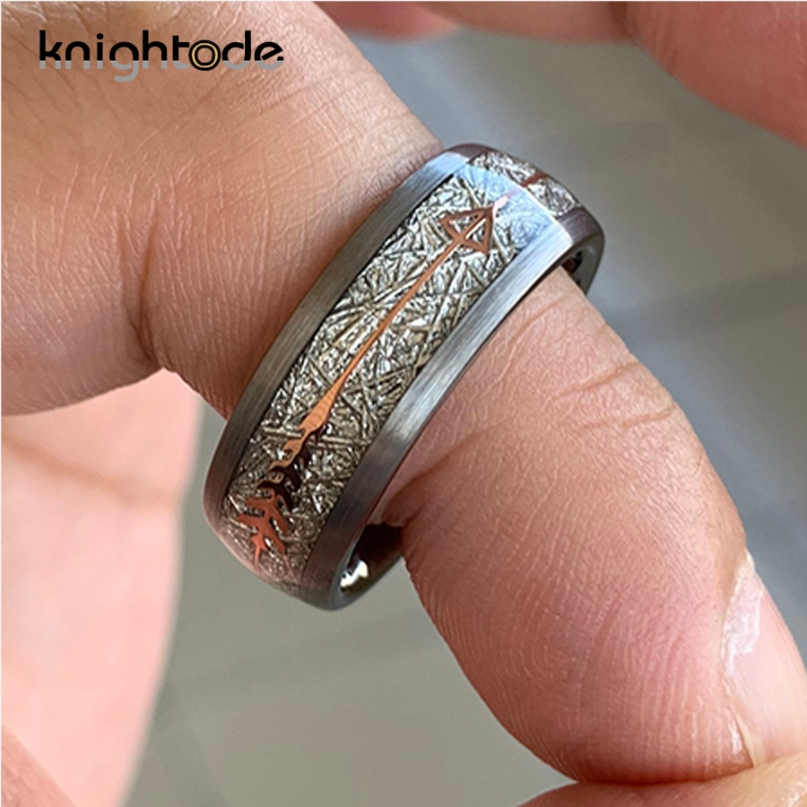 8mm White Meteorite Rose Gold Arrow Inlay Tungsten Carbide Fashion Wedding Band Rings Party Gift Dome Brushed Finish Comfort Fit