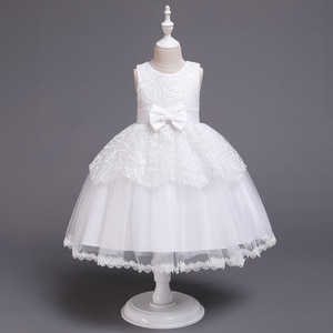 Sleeveless Kids Drees One Years Old Prom Children Leaves Lace and Tulle Flower Girl Dress for Wedding Party Dresses Toddlers