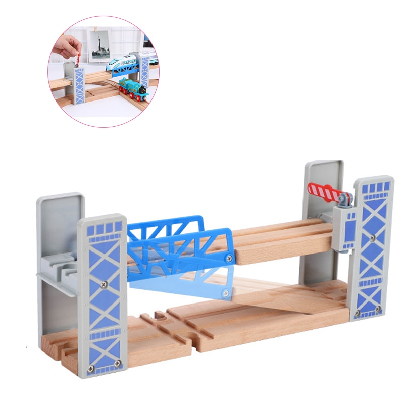 Wooden Train Tracks Railway Toys Set Wooden Double Deck Bridge Wooden Accessories Overpass Model Kid's Toys Children's Gifts artwox trumpeter 05607 u s cv 3 saratoga aircraft carrier wooden deck aw10120