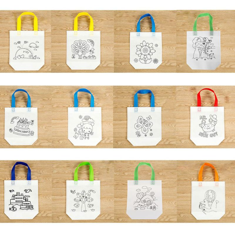 12 Colors DIY Environmental Protection Graffiti Bag Handmade Painting Kindergarten Tote Bags Puzzles