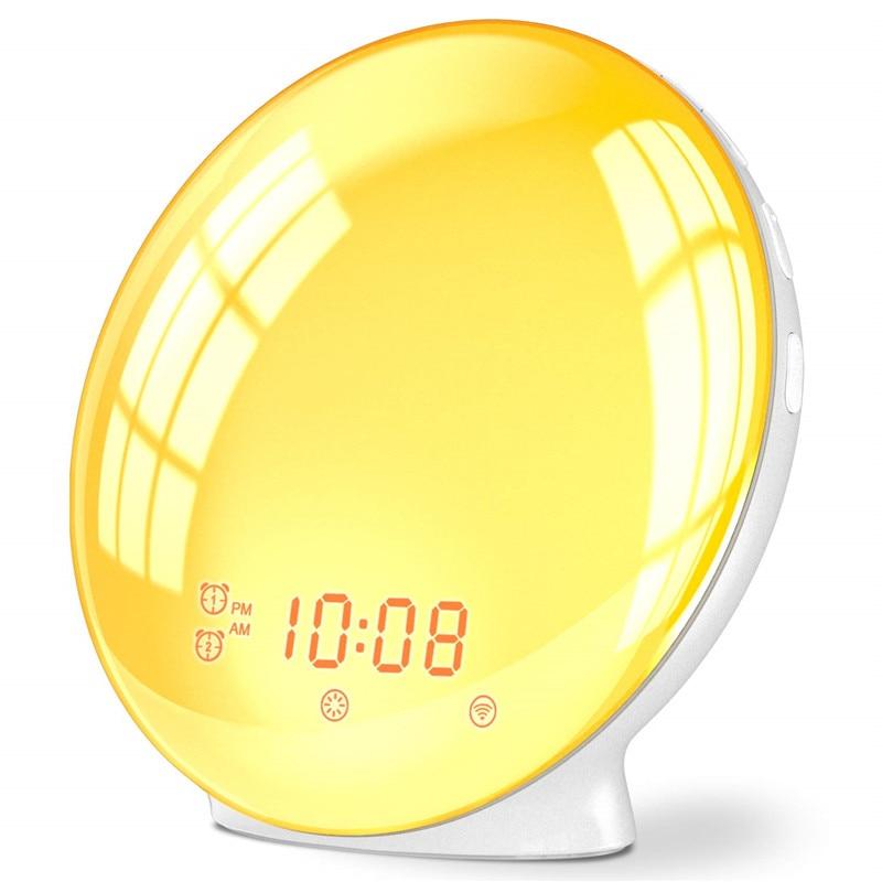 Wake Up Light Alarm Clock Kids Night Light Sunrise Simulation and Sunset Snooze Dual Alarm Clock with FM Radio for Bedroom
