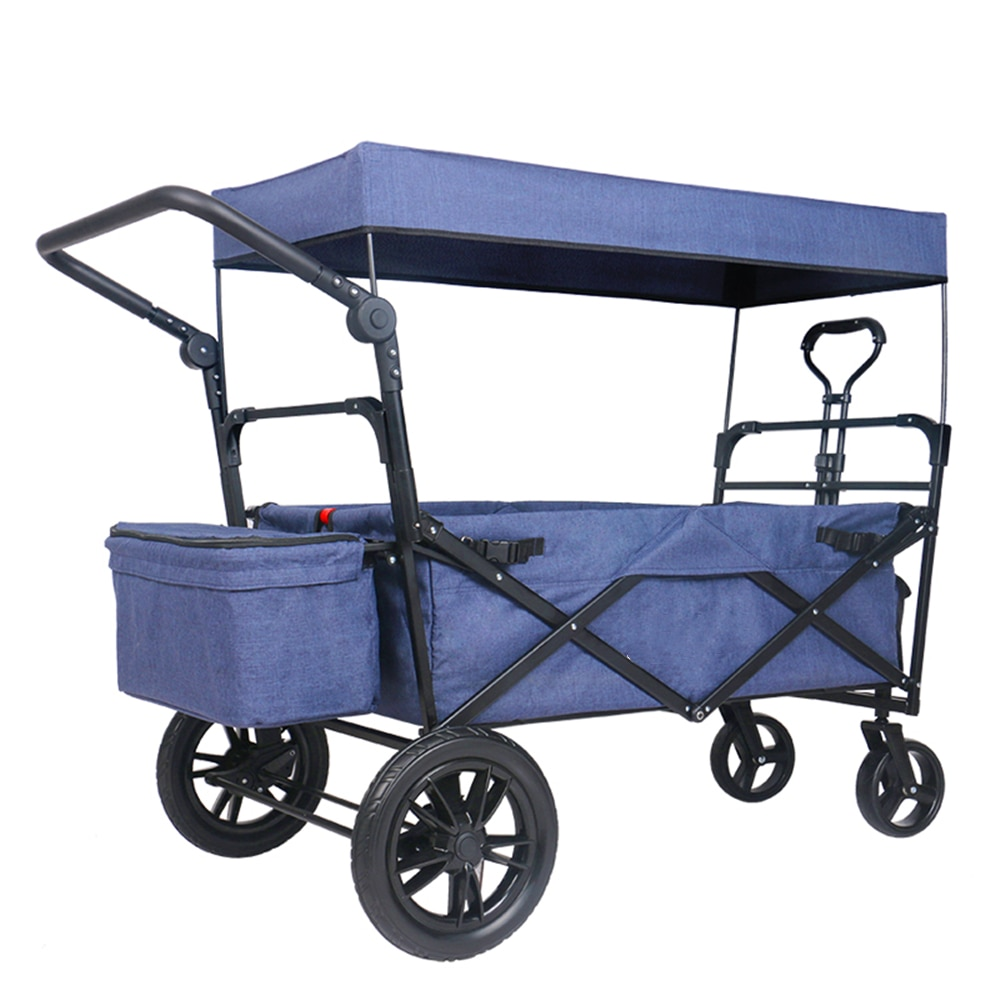 Outdoor Push Pull Utility Folding Wagon Baby Cart Removable Canopy and Foot Brakes Heavy-Duty Collapsible Stroller
