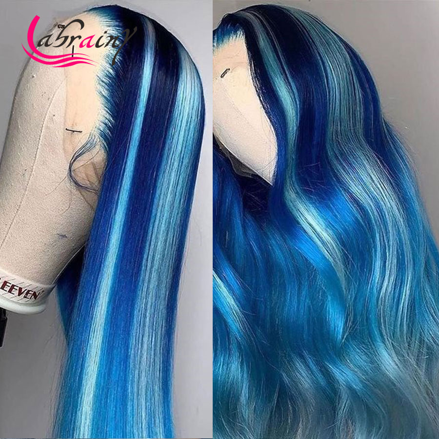 30 дюймов, с подсветкой синий HD прозрачный Синтетические волосы на кружеве al парики из натуральных волос на кружевной эффектом деграде (пере...